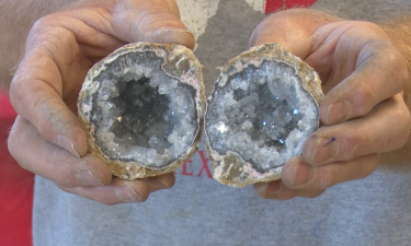 Crystals inside geode at Southeast Idaho Gem and Mineral Show