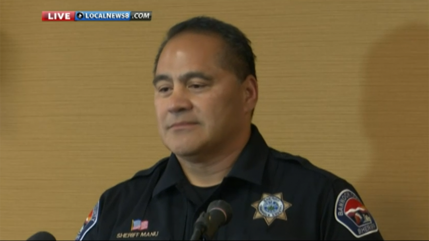 Bannock County Sheriff Tony Manu speaks at the Lance Quick press conference