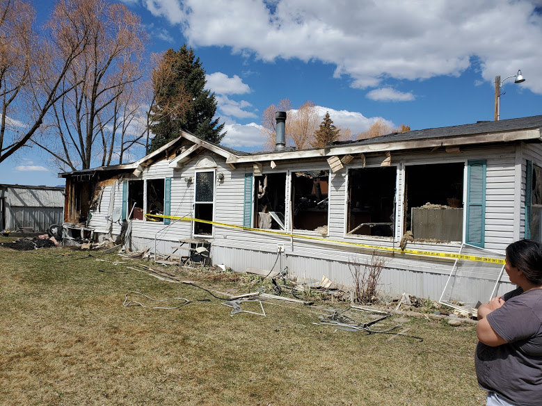 A Sunday morning fire destroyed a mobile home in Evans Trailer Park.