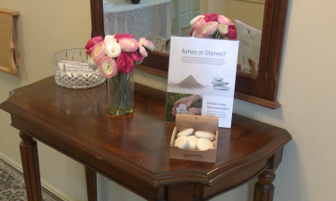 Parting stones display at Colonial Funeral Home in Pocatello, ID
