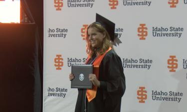 ISU student Katherine Nilsson receives diploma at Saturday's graduation