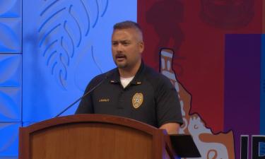 Idaho Falls Police Lieutenant John Marley speaks at Thursday's conference