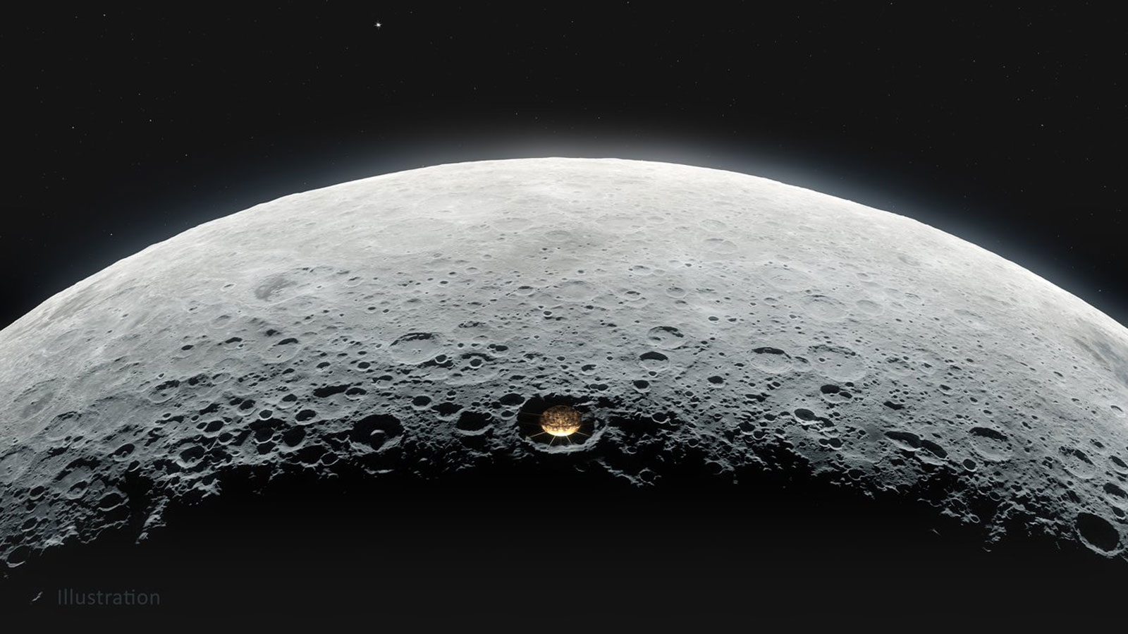 This illustration shows the proposed Lunar Crater Radio Telescope on the far side of the moon.