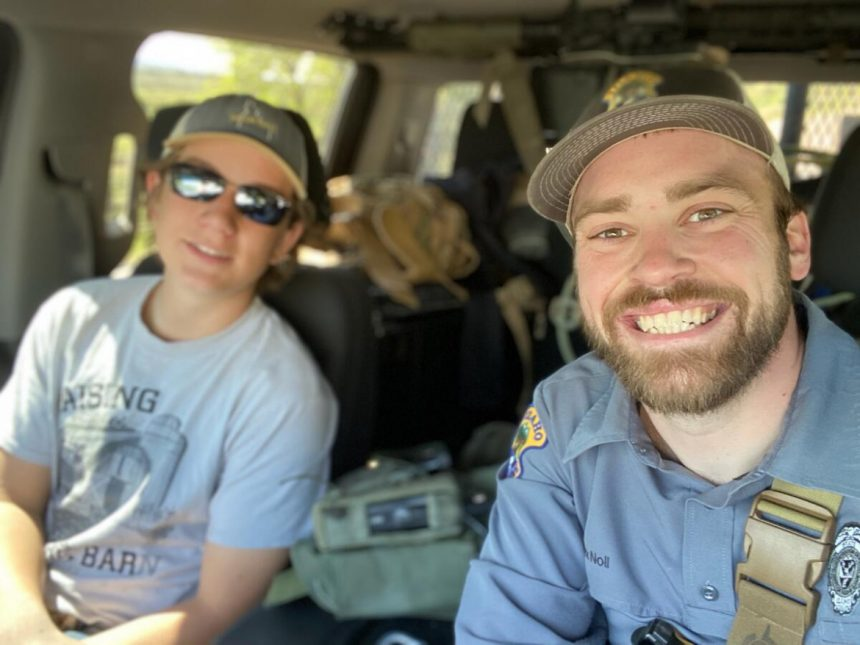 Nick Noll, IDFG Senior Conservation Officer Nick Noll (right) and Cole Gunter, 15, of McCammon (left) worked together to rescue a mule deer doe from a mud pit over Memorial Day weekend. May 2021.