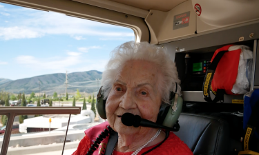 106-year-old Naomi Wilde rides in helicopter on Friday