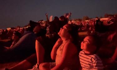 Spectators look on at Firework Celebration in Blackfoot, ID