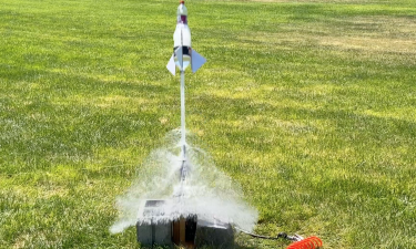 Water rocket being launched at ISU's water rocket workshop in Pocatello, ID