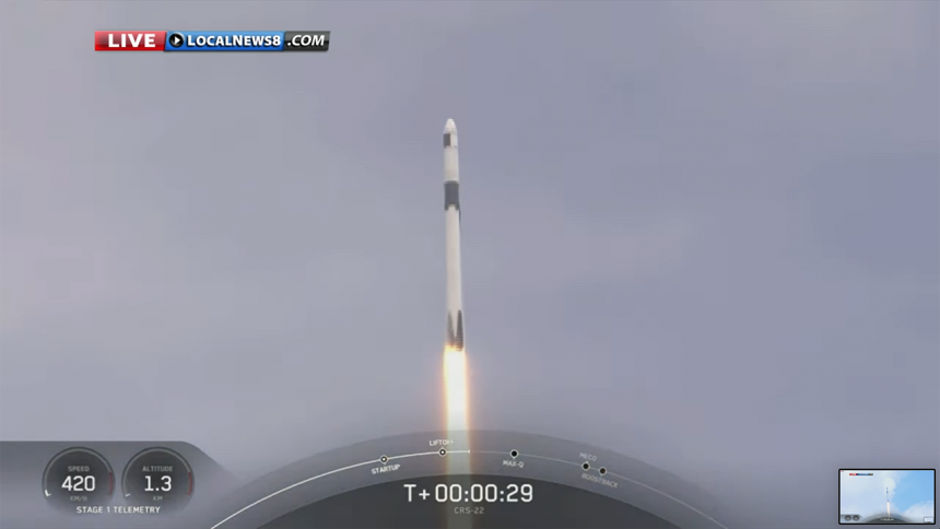 SpaceX CRS-22 Commercial Cargo Mission:Falcon 9 Launch-6