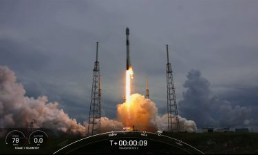 A SpaceX Falcon 9 rocket takes off from Cape Canaveral Space Force Station with 88 satellites on board.