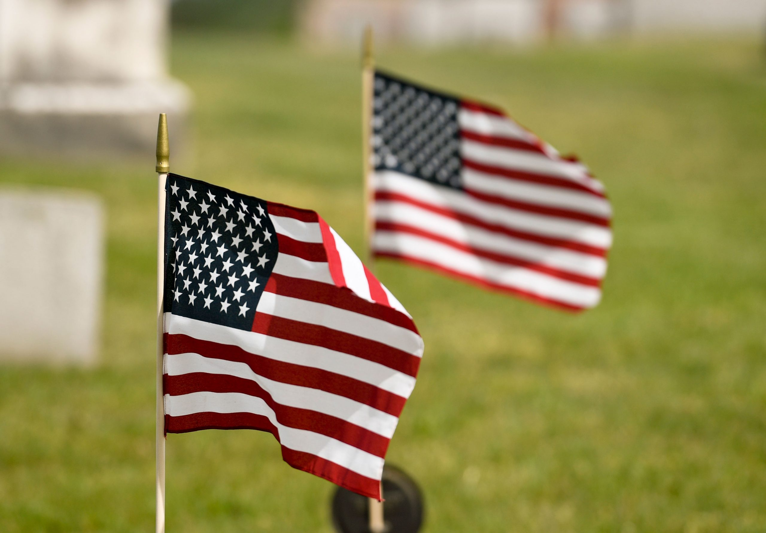 The American Flag Turns 244, on June 14. Pictured, two flags placed at the St. John's United Church of Christ Gibraltar on May 20, 2020 where flags were placed on the graves of veterans in the cemetery for Memorial Day.