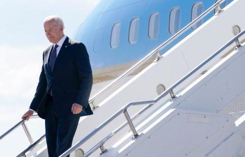 President Joe Biden steps off Air Force One at Geneva Airport in Geneva