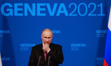 Russia's President Vladimir Putin holds a press conference after meeting with US President in Geneva on June 16. ABC News reporter Rachel Scott confronted Russian President Vladimir Putin about his crackdown on political opponents.