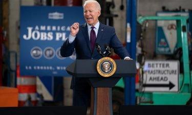 President Joe Biden speaks about infrastructure spending at the La Crosse Municipal Transit Authority on June 29 in La Crosse