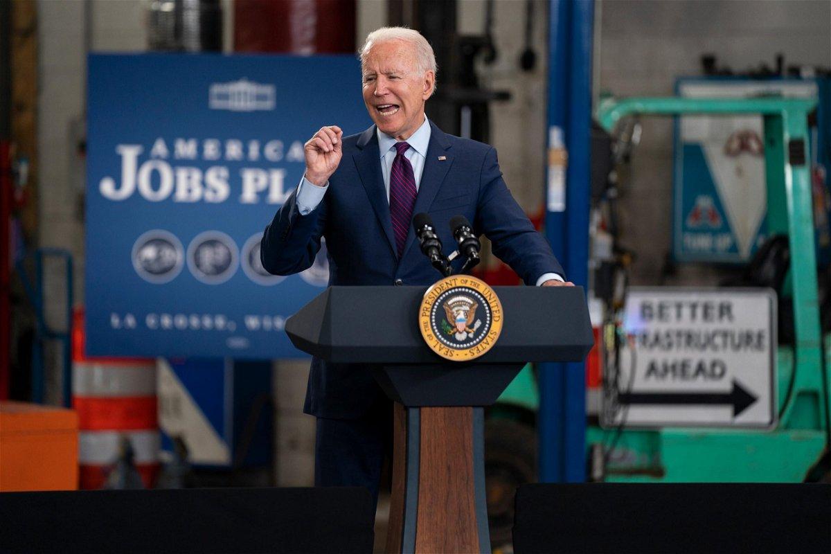 <i>Evan Vucci/AP</i><br/>President Joe Biden speaks about infrastructure spending at the La Crosse Municipal Transit Authority on June 29 in La Crosse