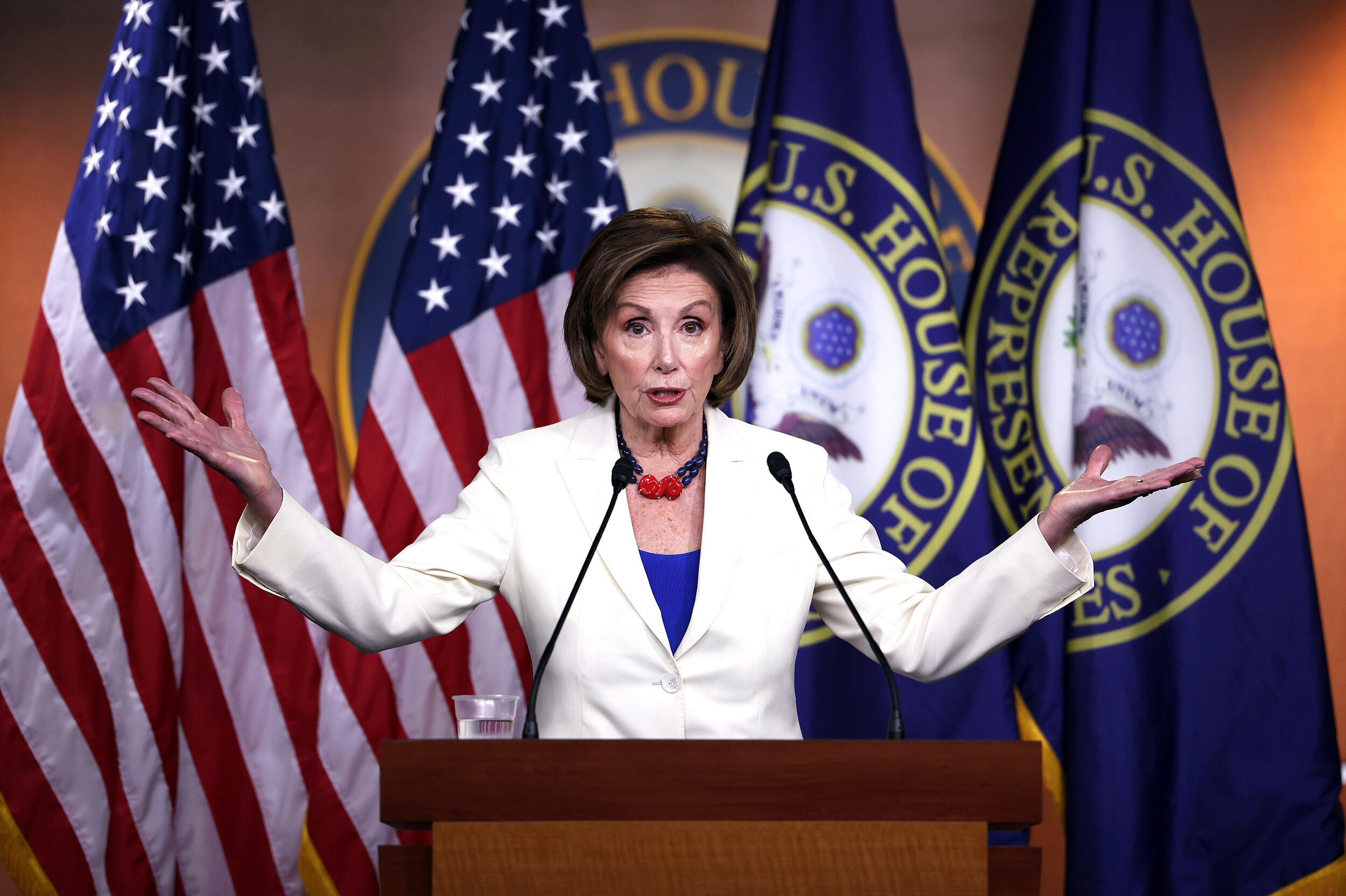 <i>Kevin Dietsch/Getty Images</i><br/>Speaker of the House Nancy Pelosi announced that she will create a committee to investigate the January 6 attack on the Capitol.