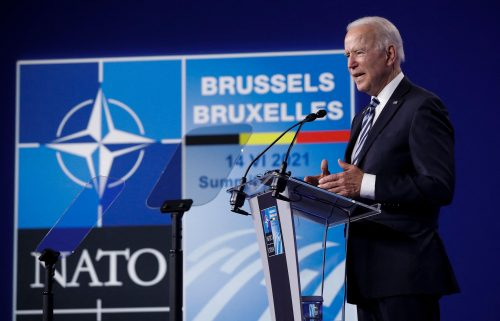 US President Joe Biden gives a press conference after the NATO summit at the North Atlantic Treaty Organization headquarters in Brussels