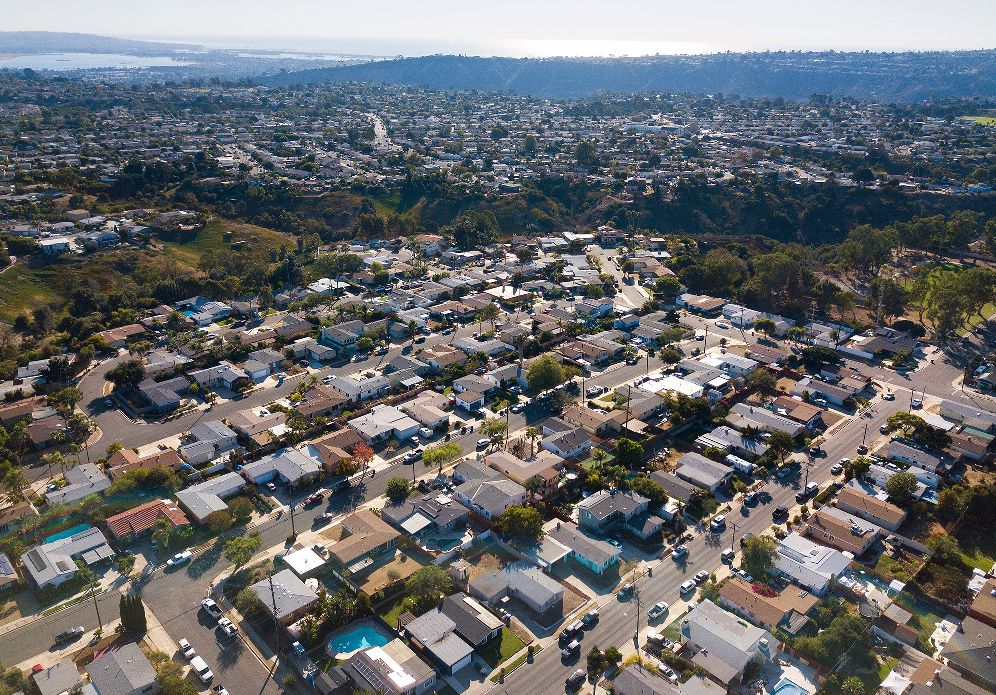Single family homes line the streets of Clairemont on Tuesday, Oct. 27, 2020 in San Diego, CA.
