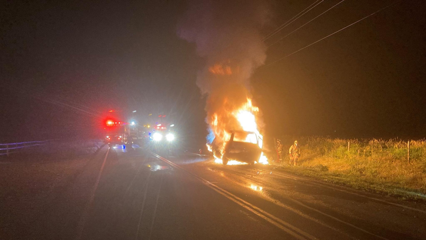 Deer collision causes vehicle fire2_Blaine County Sheriff