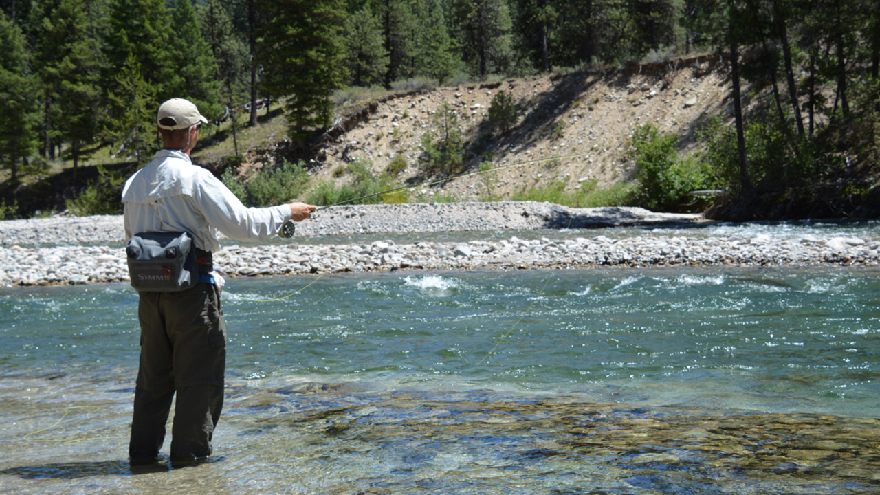 Trout angler fishing South Fork Payette River, Southwest Region.