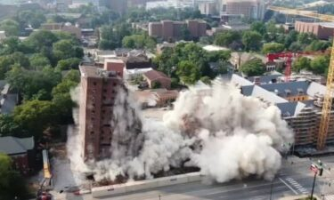 Vanderbilt University conducted a controlled implosion of Carmichael Towers East on Saturday morning.