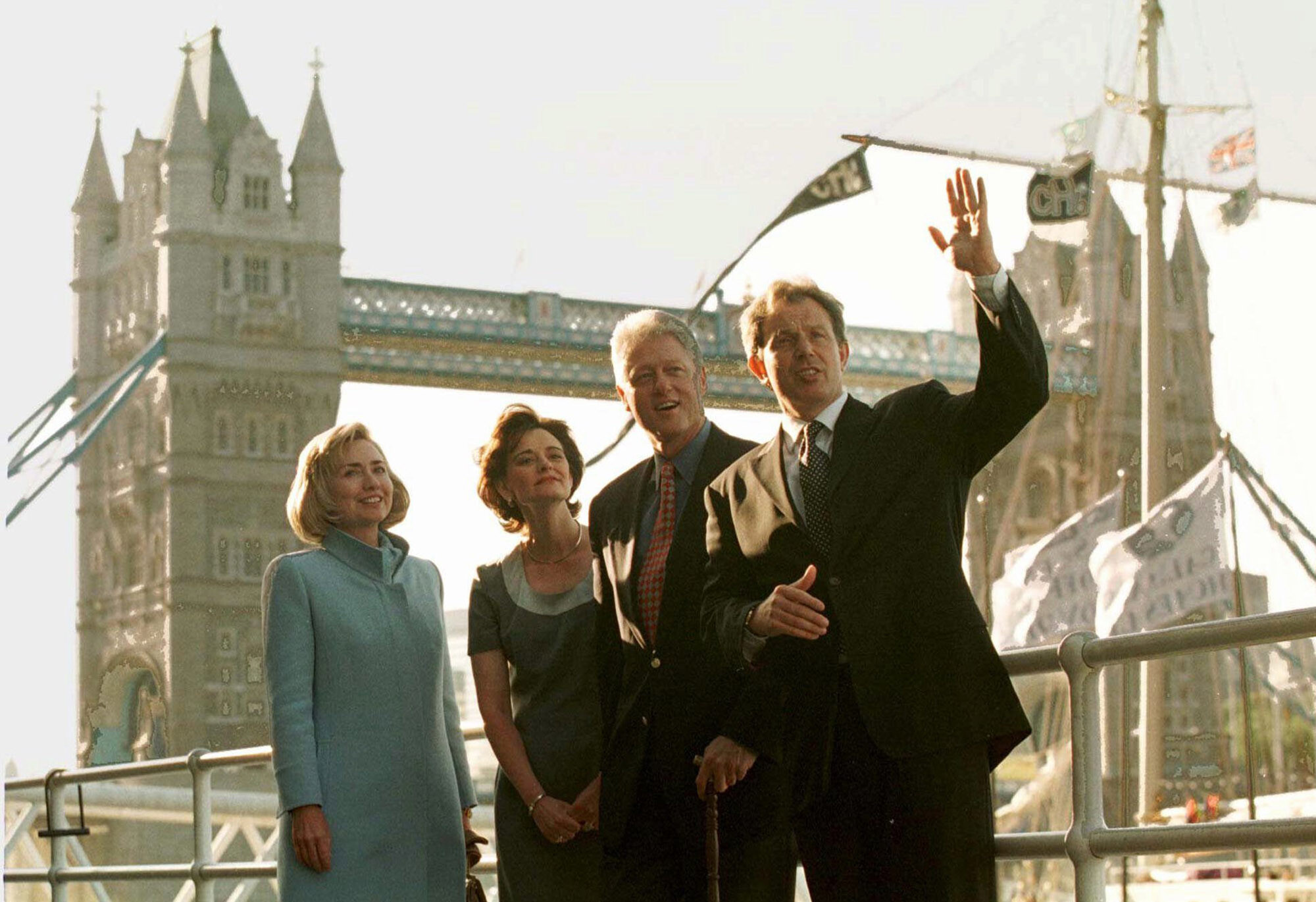 <i>Greg Gibson/AP</i><br/>US President Bill Clinton and his wife Hillary pose in front of London's Tower Bridge with British Prime Minister Tony Blair his wife Cherie