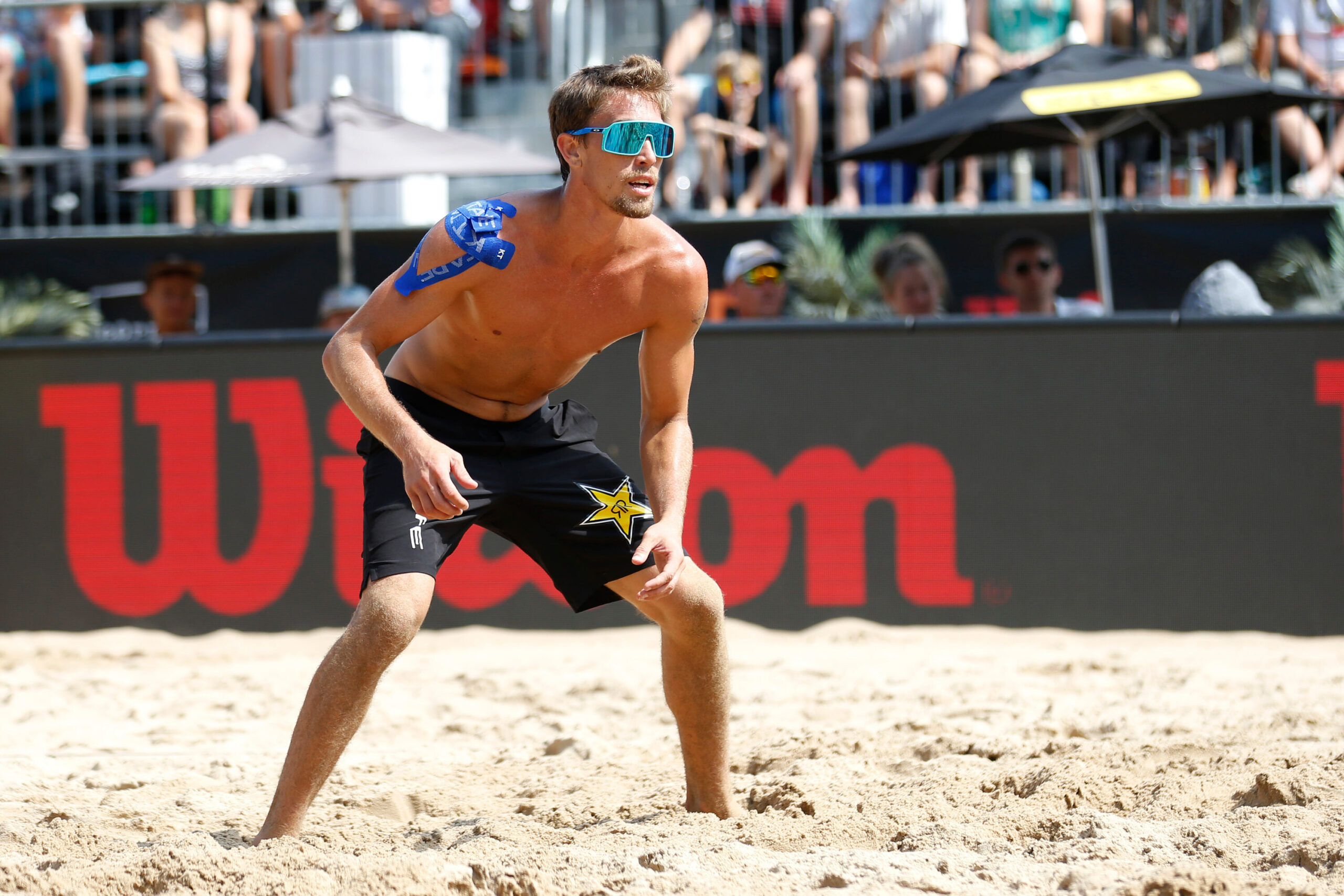 <i>Justin Casterline/Getty Images</i><br/>US men's beach volleyball player Taylor Crabb reportedly tested positive for Covid-19.
