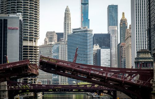 The raised Lasalle Street Bridge in Chicago