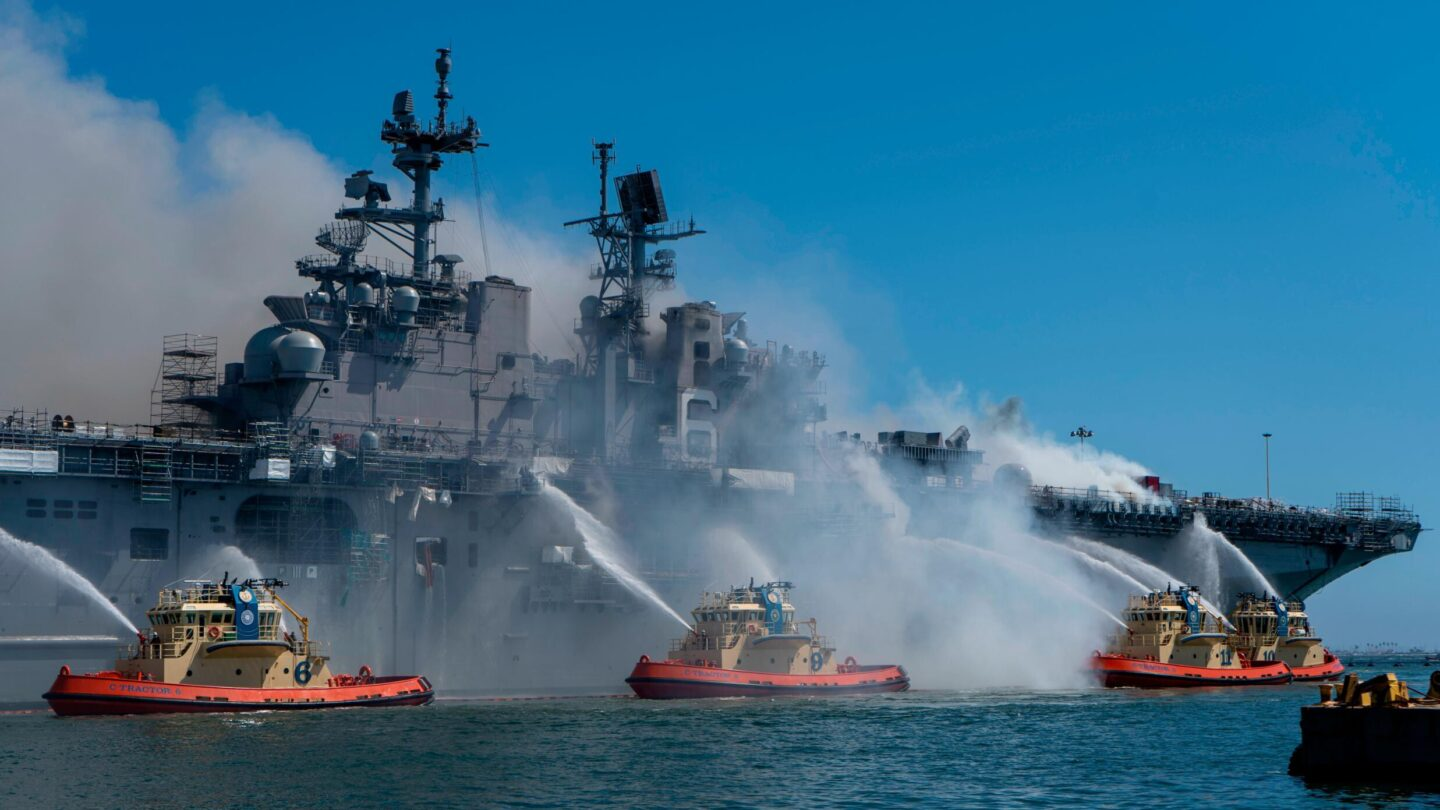 <i>MC3 Christina Ross/US Navy</i><br/>The US Navy has charged a sailor in connection with the 2020 fire that destroyed the USS Bonhomme Richard amphibious warship while it was in port in San Diego