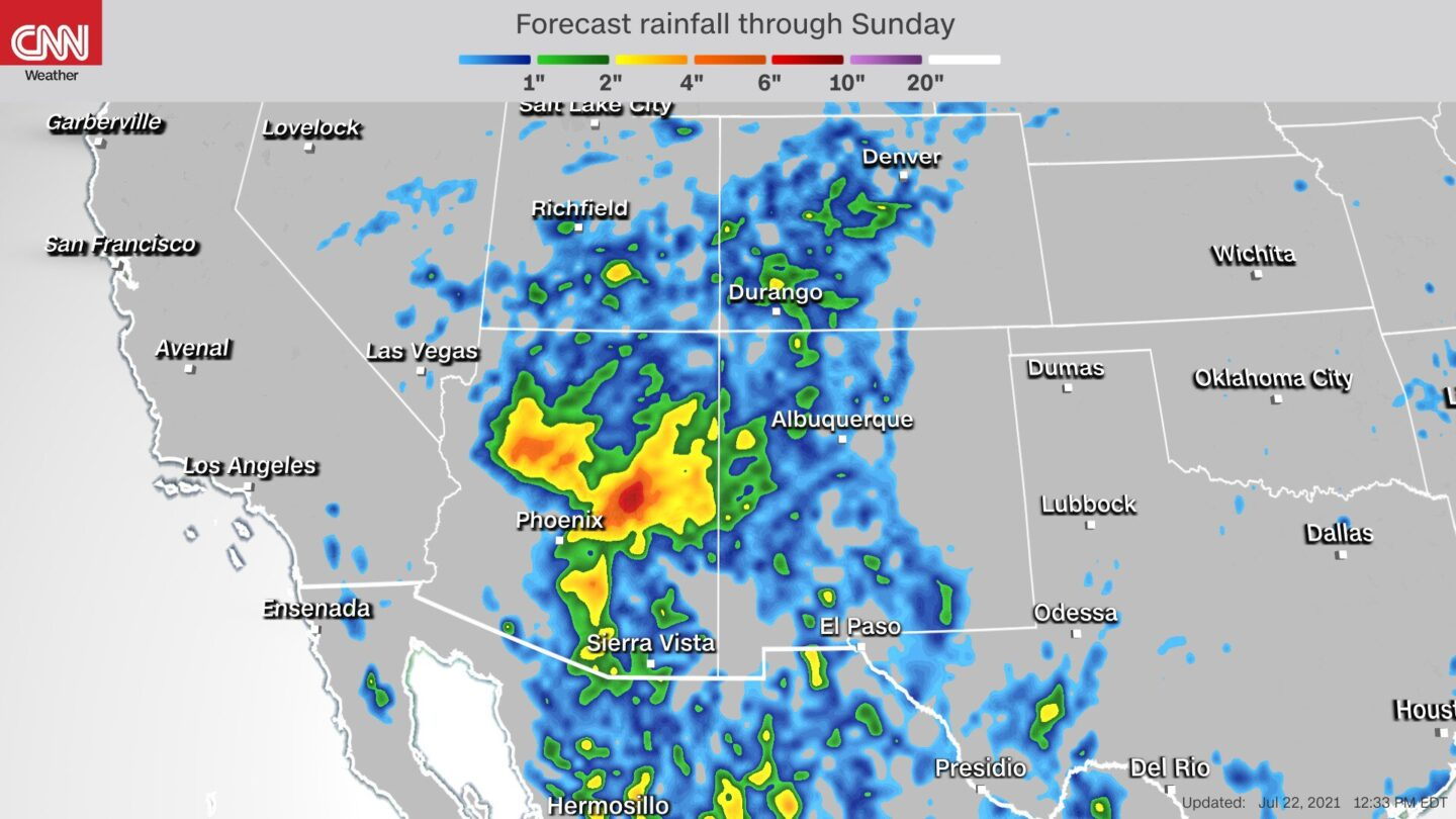 <i>CNN</i><br/>Some areas of Arizona could see over five inches of rainfall through the end of the weekend.