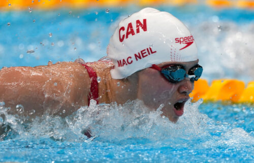 Canada's Margaret Macneil won the gold medal in the women's 100-meter butterfly at the Tokyo Olympics.