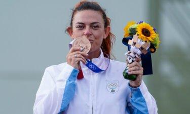Perilli celebrated her bronze finish