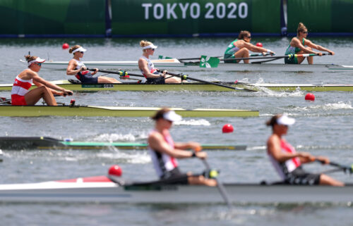 Helen Glover and Polly Swann compete in the women's pair semifinals at the Tokyo Olympics.