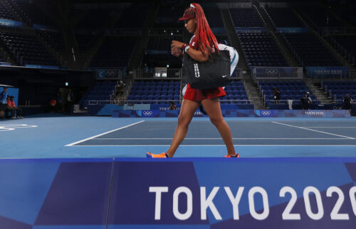 Naomi Osaka leaves the court after defeat in her third-round match against Marketa Vondrousova on day four of the Tokyo 2020 Olympic Games at  Ariake Tennis Park on July 27 in Tokyo.