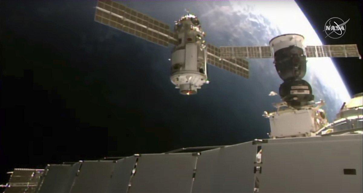<i>NASA/AP</i><br/>This image provided by NASA shows the 20-metric-ton (22-ton) Nauka module