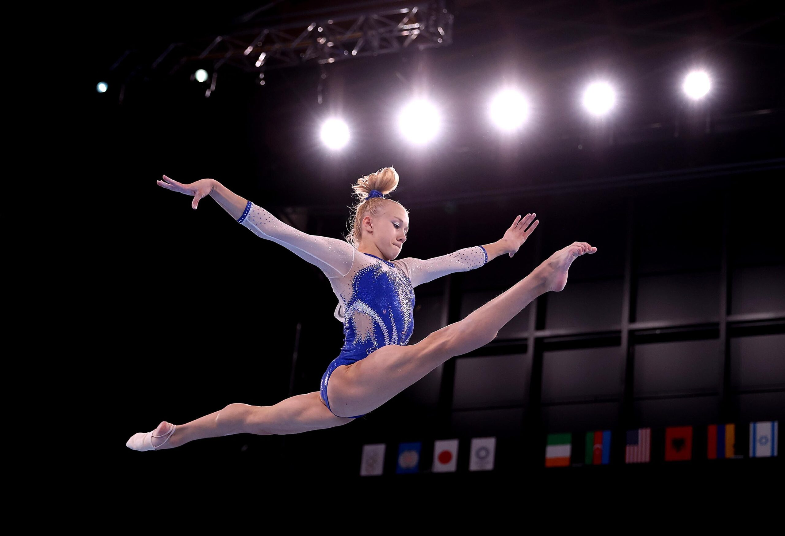 <i>Laurence Griffiths/Getty Images</i><br/>Viktoriia Listunova of the ROC competes in balance beam during the Women's Team Final at Tokyo 2020. The Russian Olympic Committee (ROC) won a dramatic women's team gymnastic final to take the gold medal after Team USA was hit by the withdrawal of Simone Biles.