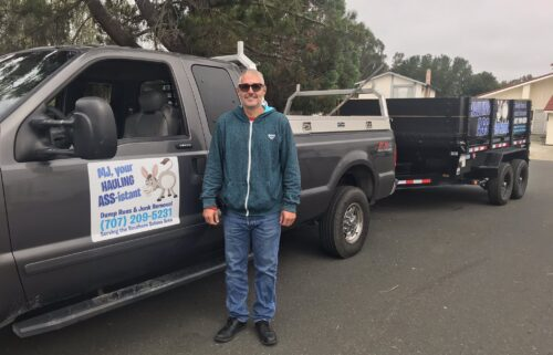 Mark Cutlip says his truck and trailer were stolen. He uses them for his new junk hauling business