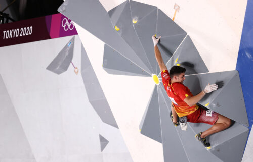 Ginés competes in the men's combined final at the Tokyo Olympics. He won his first Olympic climbing gold in Tokyo.