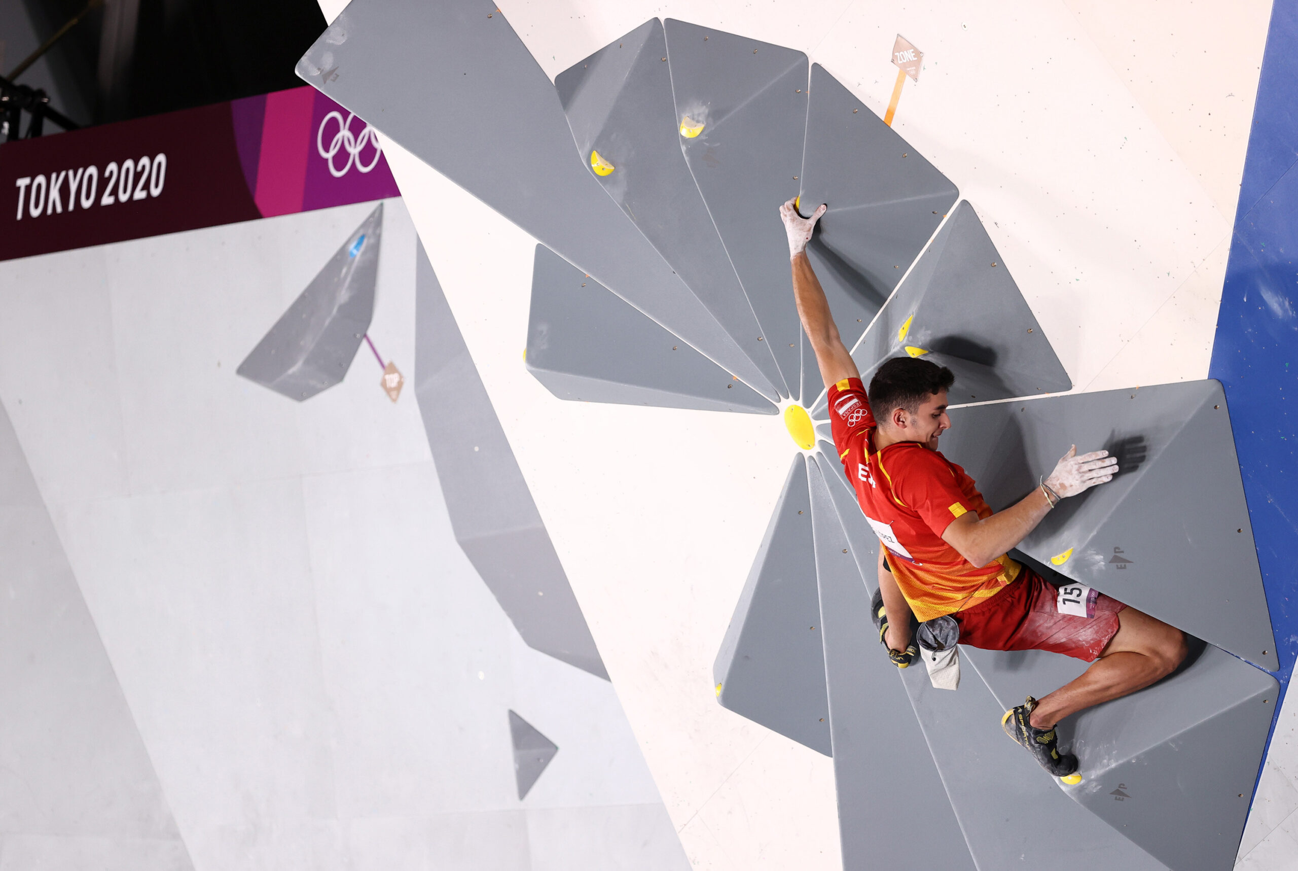 <i>Maja Hitij/Getty Images</i><br/>Ginés competes in the men's combined final at the Tokyo Olympics. He won his first Olympic climbing gold in Tokyo.