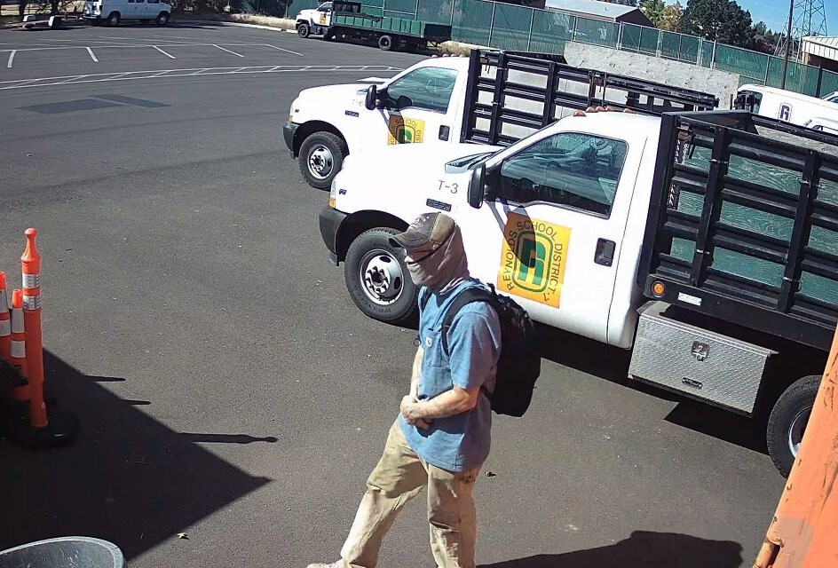 <i>Reynolds School District</i><br/>The Multnomah County Sheriff's Office is looking for a man suspected of stealing catalytic converters from several Reynolds School District vehicles Saturday night.