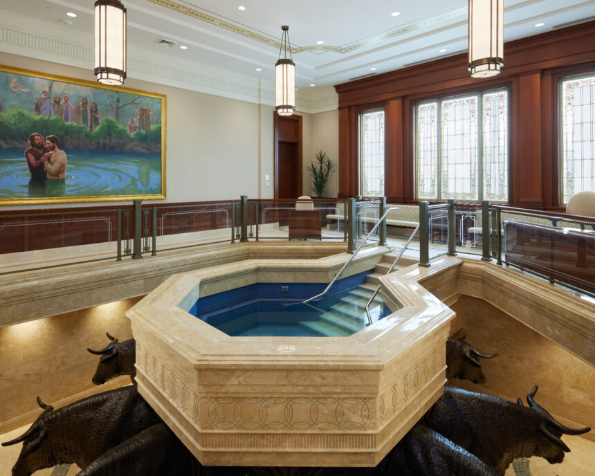 The baptistry in the Pocatello Idaho Temple_2021 by Intellectual Reserve, Inc. All rights reserved.