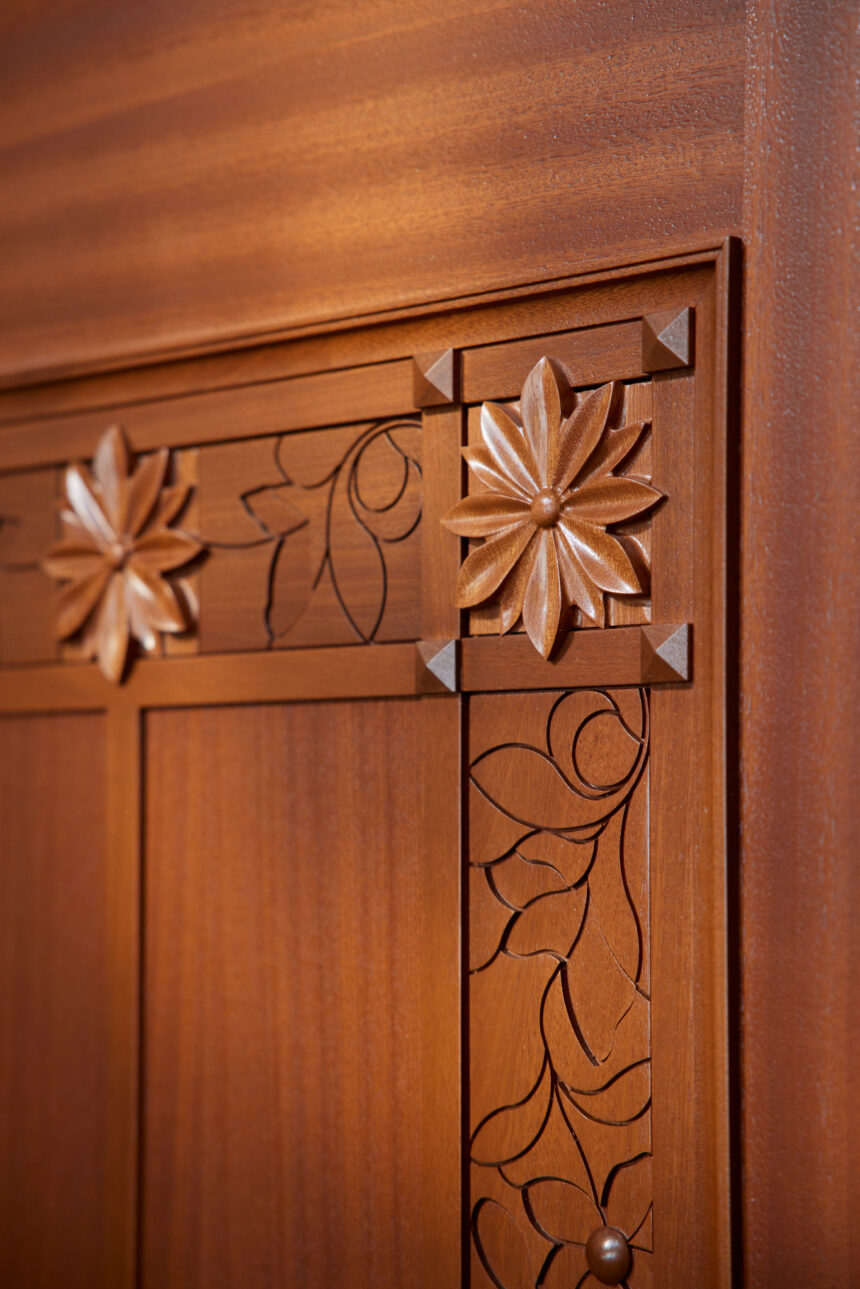 Wood details and embellishments inside the Pocatello Idaho Temple_2021 by Intellectual Reserve, Inc. All rights reserved.