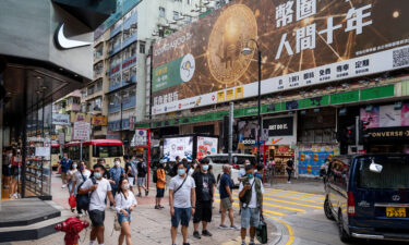 A Bitcoin banner advertisement is seen in Hong Kong