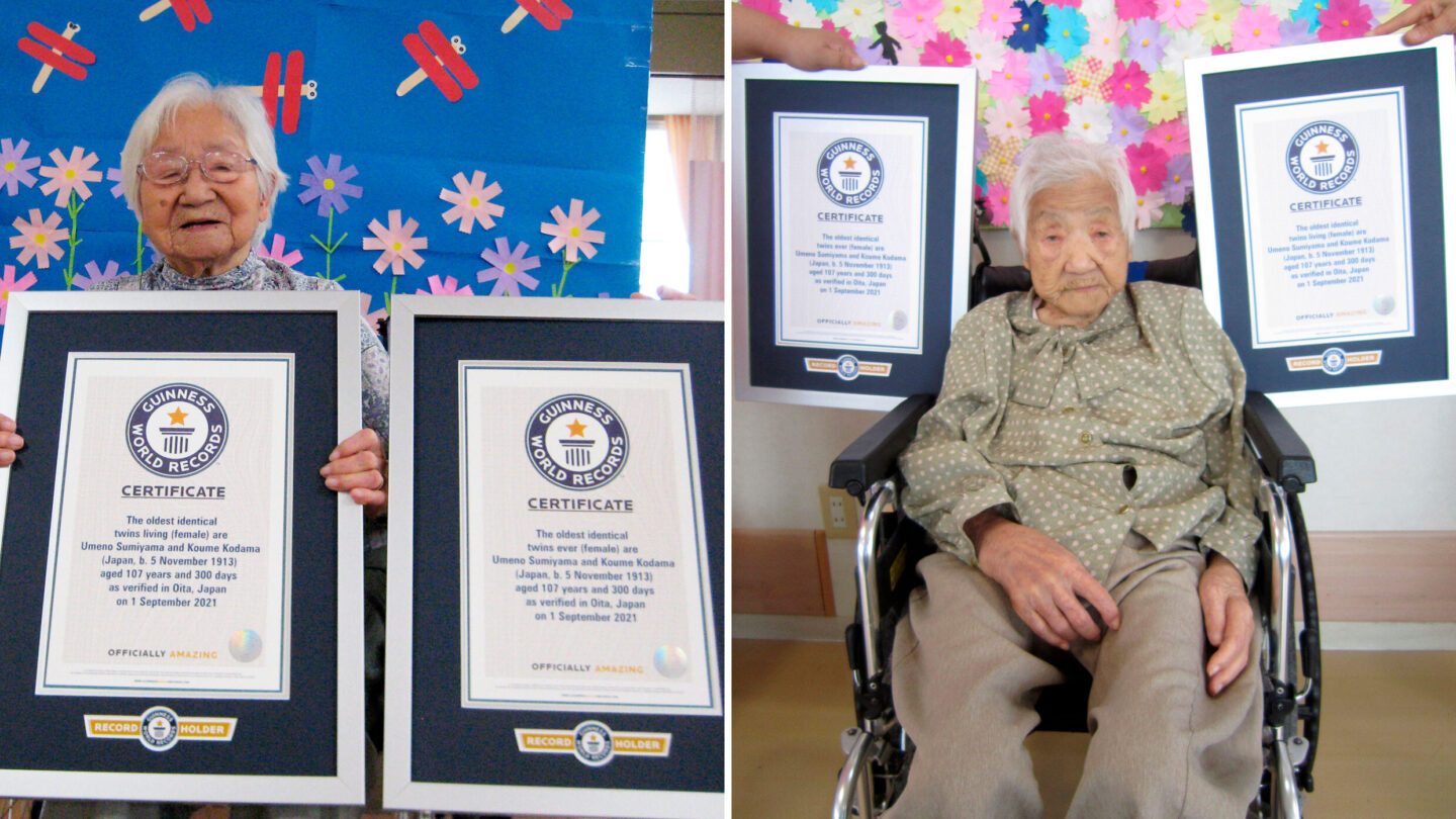 <i>Guinness World Records via AP</i><br/>Identical twins Umeno Sumiyama (left) and Koume Kodama (right) are seen. The two Japanese sisters have been confirmed as the world's oldest living identical twins and the oldest ever identical twins at the age of 107.