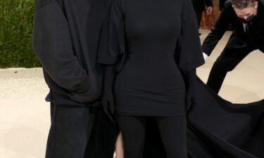 Demna Gvasalia and Kim Kardashian West at the 2021 Met Gala on September 13