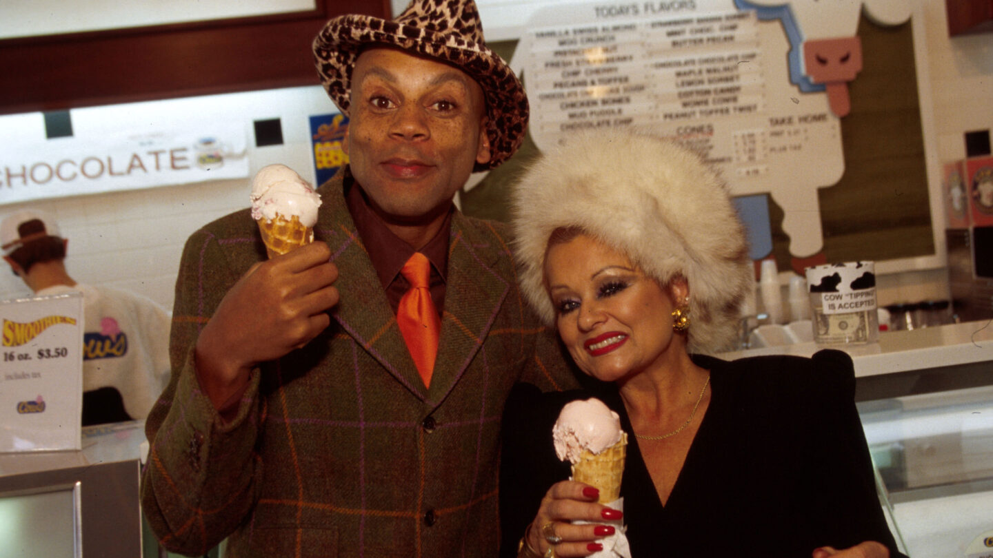 <i>Randall Michelson/WireImage/Getty Images</i><br/>Televangelist Tammy Faye Messner (right