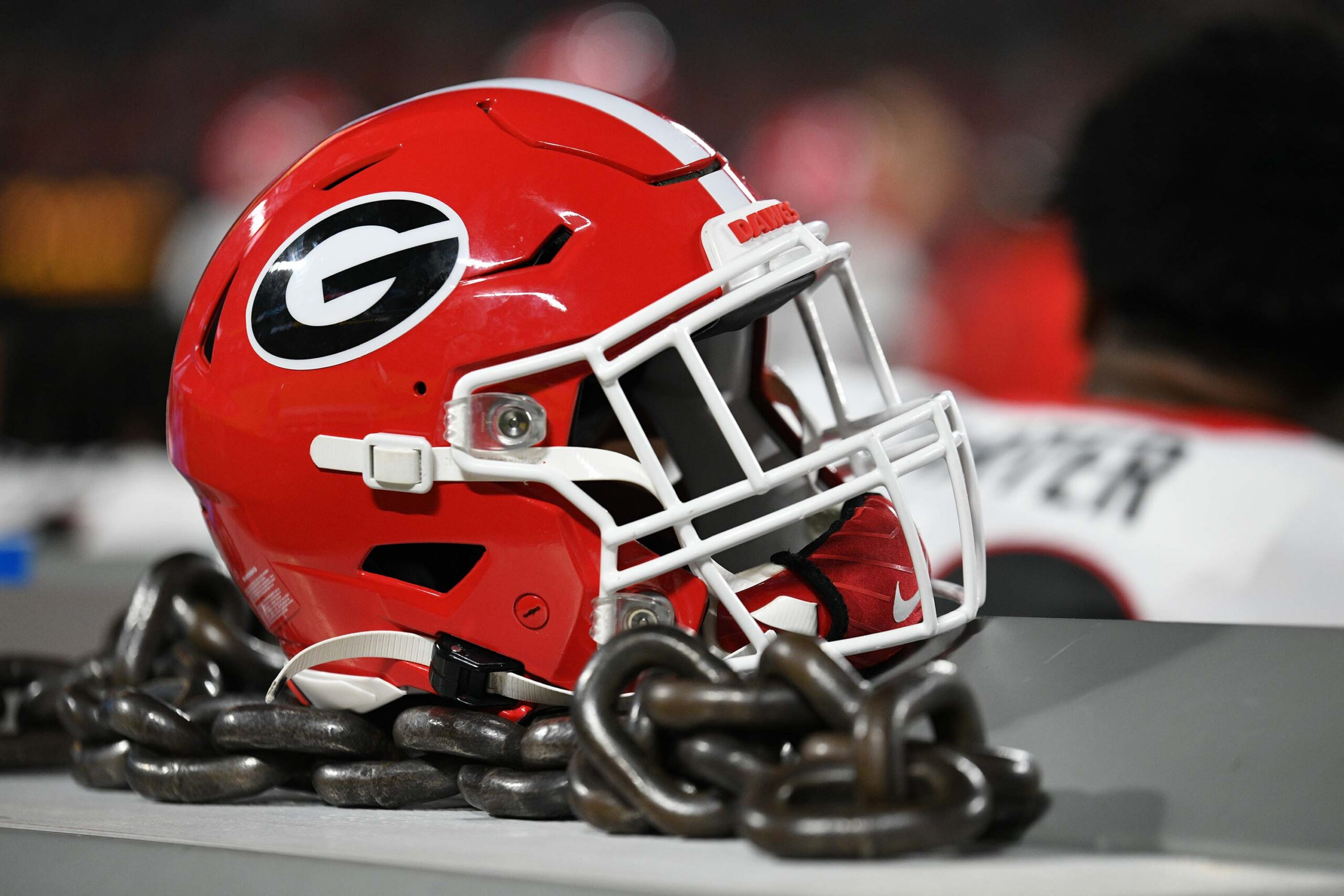A Georgia Bulldogs helmet rests on the equipment bench during the game between the Clemson Tigers and the Georgia Bulldogs on September 4, 2021 at Bank of America Stadium in Charlotte, NC. (Photo by William Howard/Icon Sportswire via Getty Images)