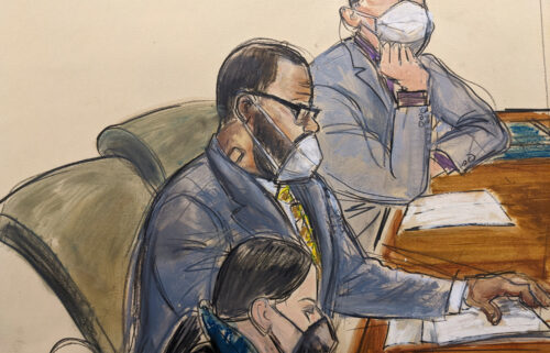 A courtroom sketch of R. Kelly