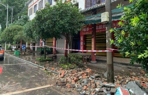 A damaged wall in Luzhou