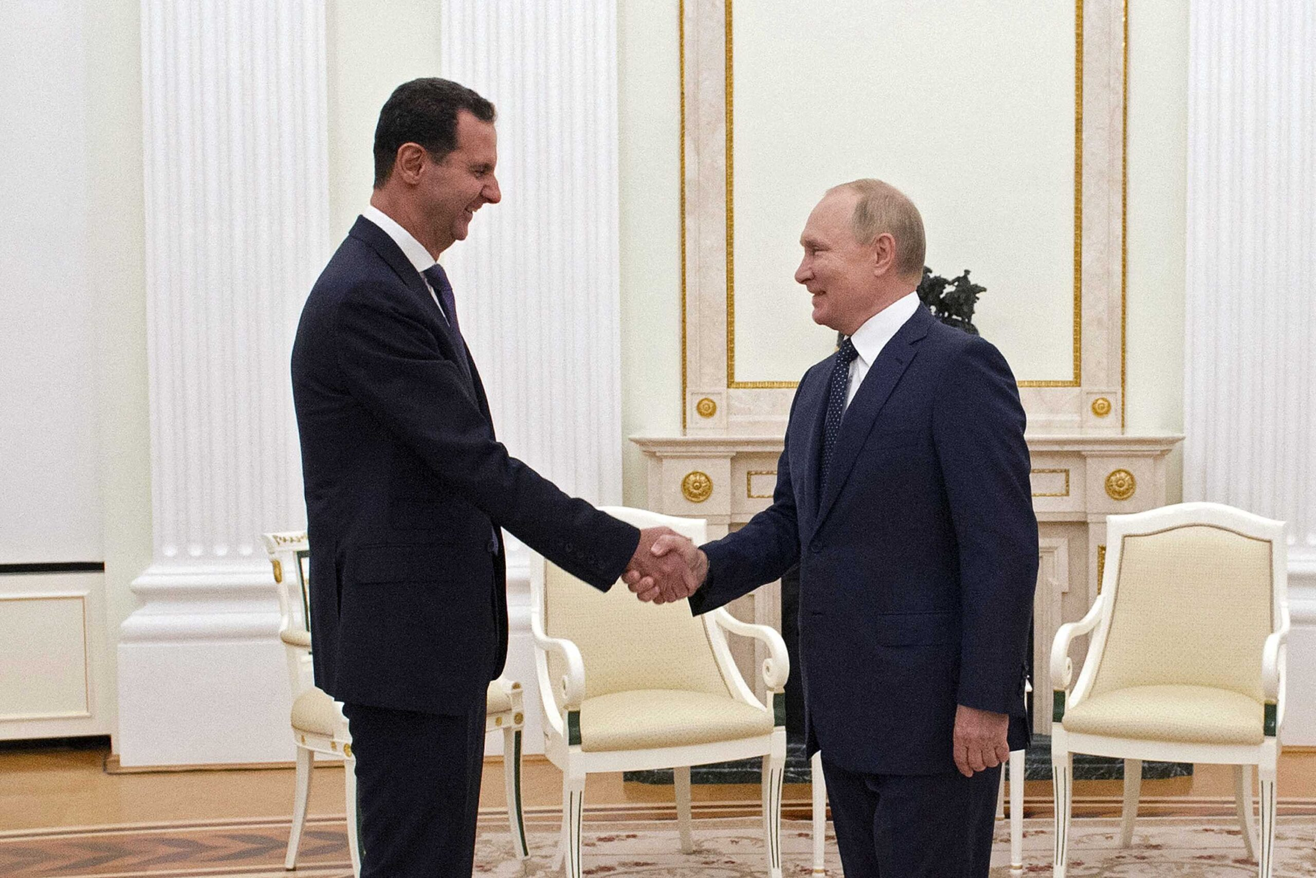 <i>Mikhail Klimentyev/Sputnik/AFP/Getty Images</i><br/>Russian President Vladimir Putin is quarantining after several people in his inner circle tested positive for Covid-19. Putin met Syrian President Bashar al-Assad in Moscow on Monday.