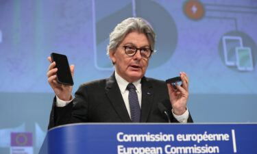 European Commissioner for Internal Market Thierry Breton speaks as he holds a press conference about the harmonisation of the electronic charger.